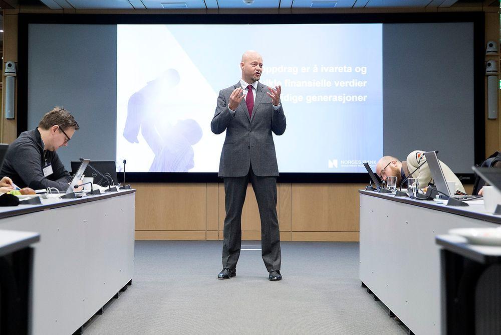 Presenterte: Her legger sjef for Oljefondet Yngve Slyngstad frem resultatene.
