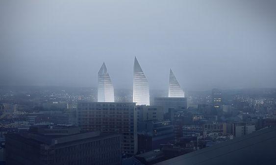 Snøhettas forslag til nytt regjeringskvartal består av tre skråformede skyskrapere.