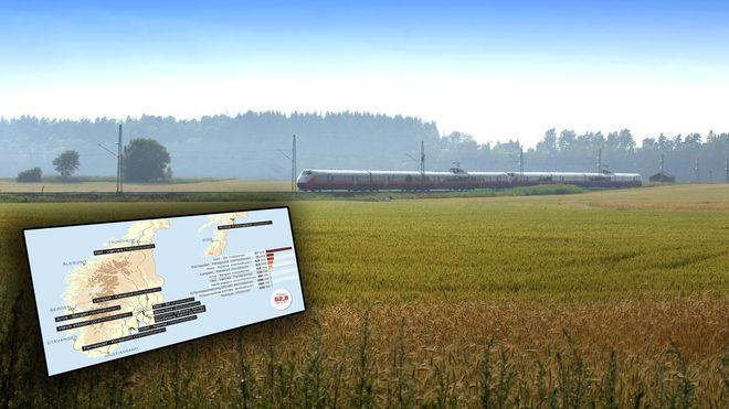 Dette er de ti største jernbaneprosjektene i Norge