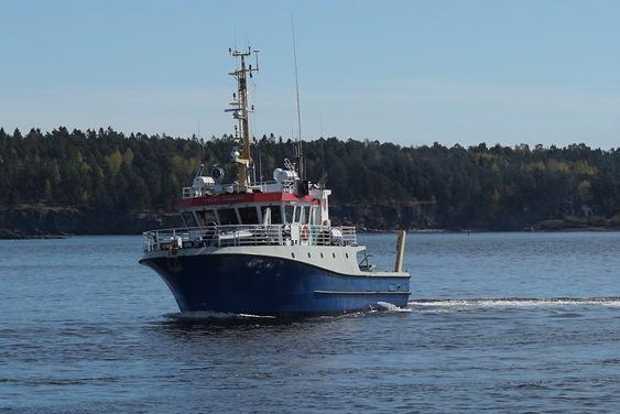 """Forskningsfartøyet til Universitet i Oslo, """"RV Trygve Braarud"""" måler vannstrømminger i Oslofjorden med Skippers utstyr om bord."""