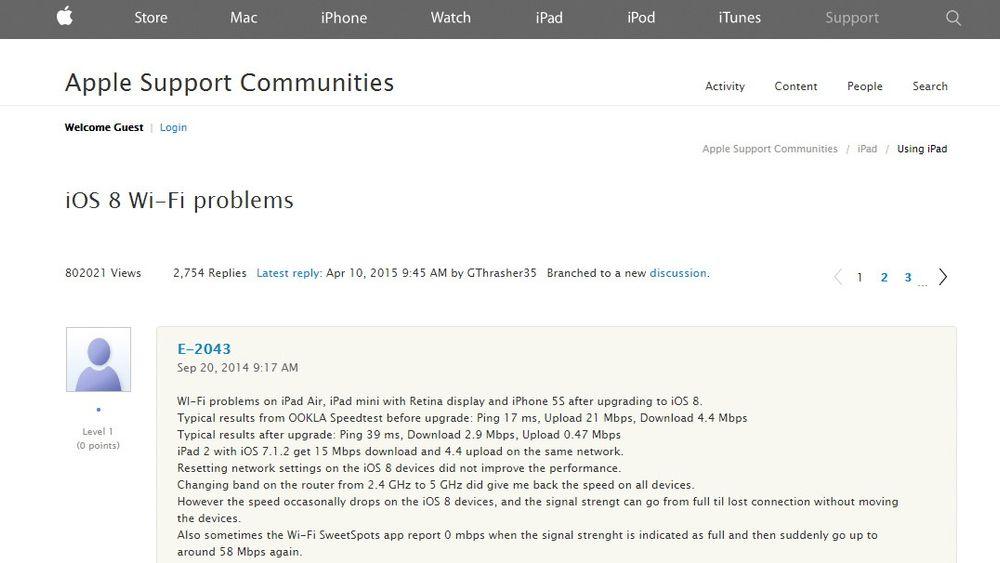 Flere har henvendt seg til Apples support-forum for hjelp med den såkalte «wifried»-bugen.
