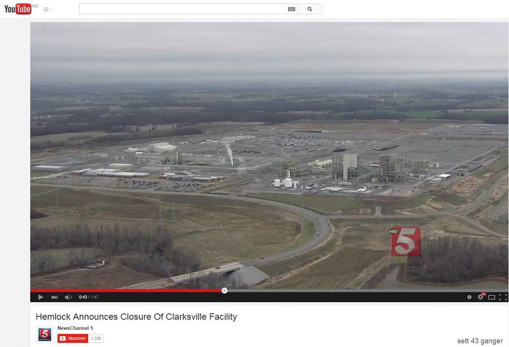 Fabrikken i Clarksville i Tennessee kostet ni milliarder kroner å bygge, men ble aldri åpnet. Her fra en nyhetsreportasje på amerikansk TV da nyheten om stengningen ble kjent.