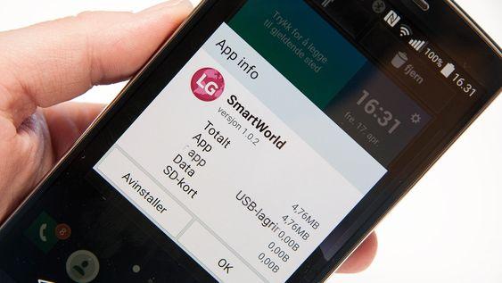 LG har installert en del apper på forhånd, men mange av dem kan avinstalleres uten mer om og men.