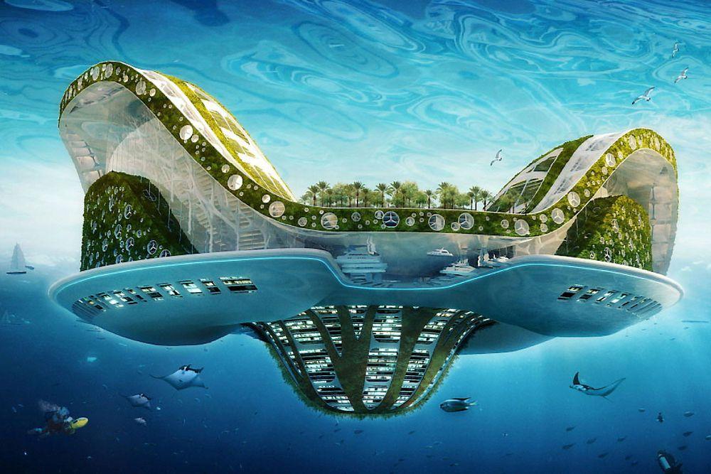 Den kunstig øya Lilypad er designet for å huse 50.000 klimaflyktninger fra stigende havnivå.