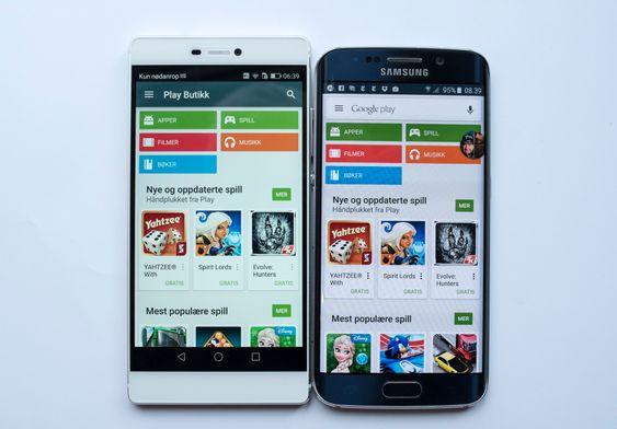 Konkurrenter: Huawei sikter seg inn mot de store, slik som Galaxy S6 Edge fra Samsung. Førsteinntrykket er veldig bra, men som det fremkommer av bildet har Samsung kontrollknappene under skjermen, mens på P6 opptar de en del av skjermbildet.