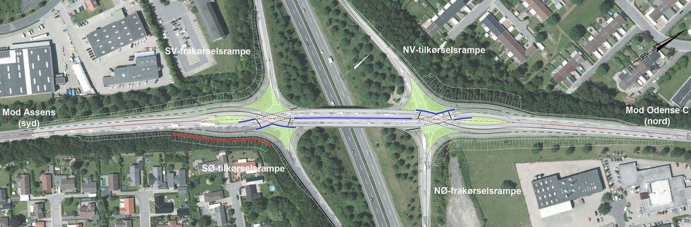 """Danskene vil bygge et såkalt """"dynamisk ruteranlegg"""" over en motorveibru ved Odense. Her blir det nå venstrekjøring over brua, noe som skal lette trafikkavviklingen ettersom biler som skal ta av mot venstre slipper å oppholde annen trafikk."""
