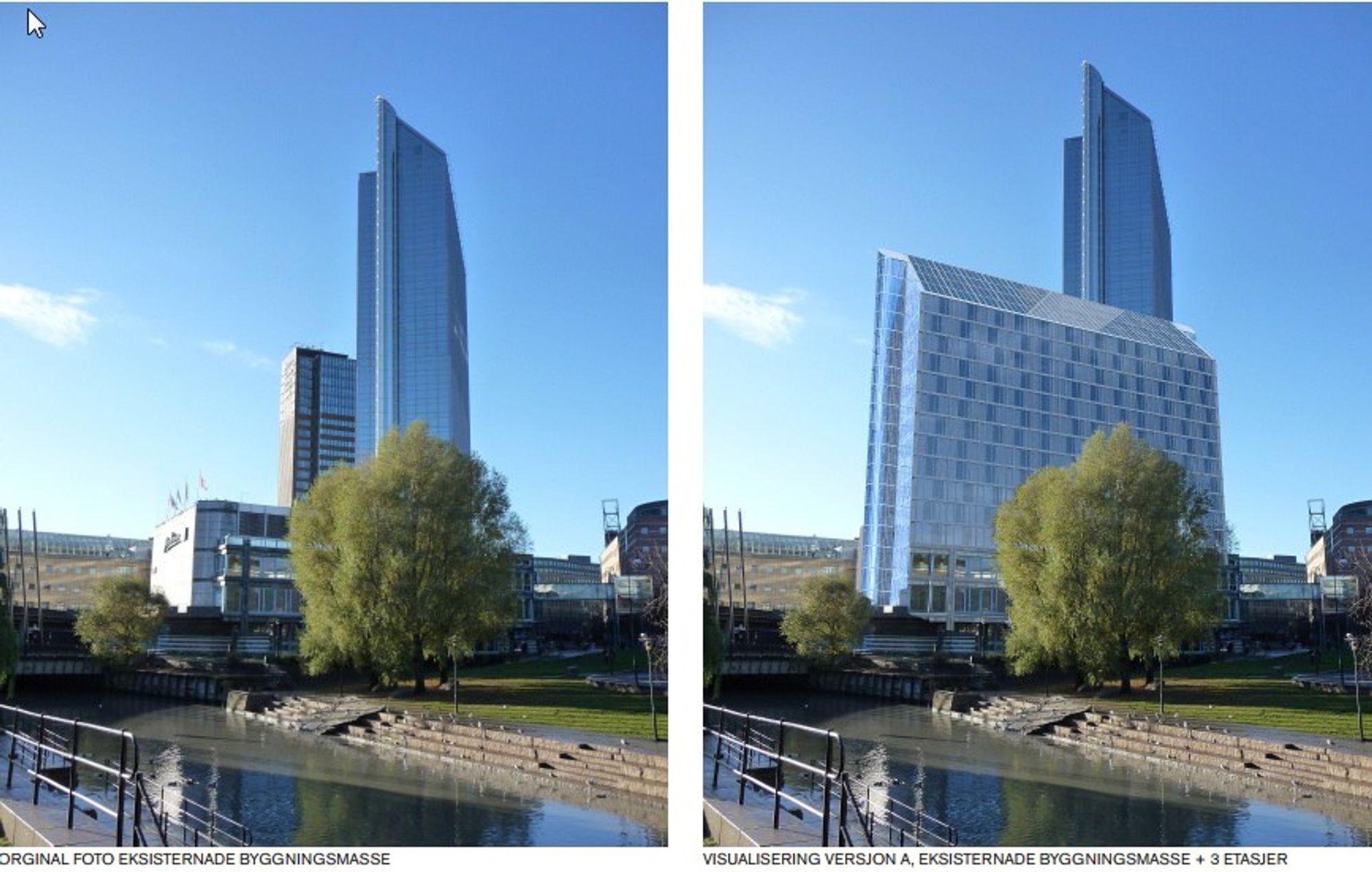 Dersom planene realiseres vil Oslo Plaza bli Skandinavias største hotell målt i antall rom. Her orginalt foto av eksisterende bygg og visualisering av eiernes høyeste forslag.