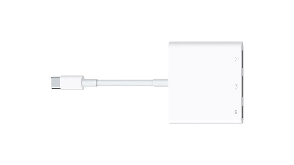 Apples USB-C Digital AV multiport adapter gjør om USB-C-inngangen i den nye Macbooken til tre separate porter. Én for USB, én for HDMI eller VGA og én for USB-C.
