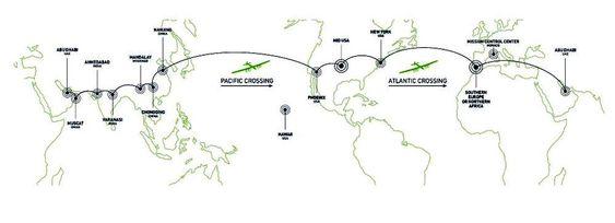 Slik er den 35 000 kilometer lange ruta.