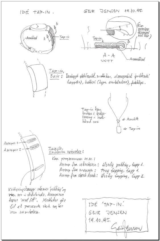 Tap-in, skisse smartklokke i 1995, Geir Jensens bidrag til Reodorprisen i 1995.