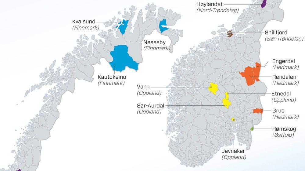 Disse 13 kommunene har ifølge Iris null prosent av Norges oljevirksomhet.