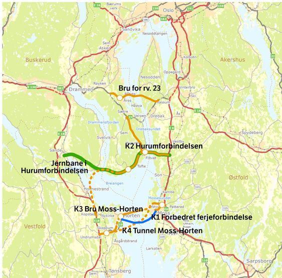 Konseptutvalget for kryssing av Oslofjorden foreslo veiforbindelse mellom Moss og Horten, samt bru ved Hurum eller et nytt løp i Oslofjordtunnelen. Statens vegvesen og Fylkesmannen i Oslo er nå uenige.