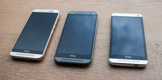 Tre generasjoner: Det er ikke mye som skiller utseende på HTC One M7, 8 og 9. Den største forskjellen i fronten er kanskje at det såkalte superpikselkameraet på 4 MP er degradert til selfiekamera. 4 MP foran er mer enn godkjent, spesielt når dette kameraet også kan skilte med vesentlig større areal på hvert piksel som gir uovertrufne egenskaper i dårlig lys.
