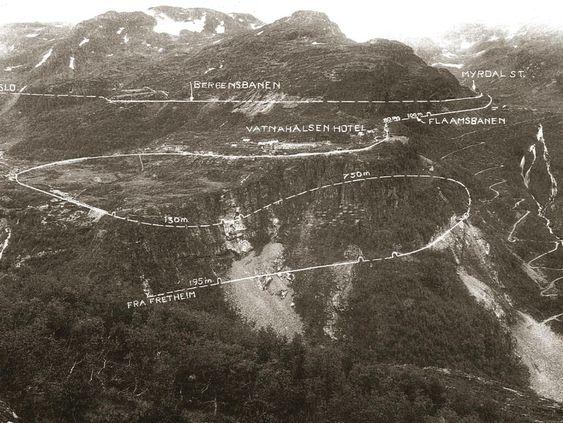 Flåmsbanen snor seg i bratte svinger gjennom Flåmsdalen.