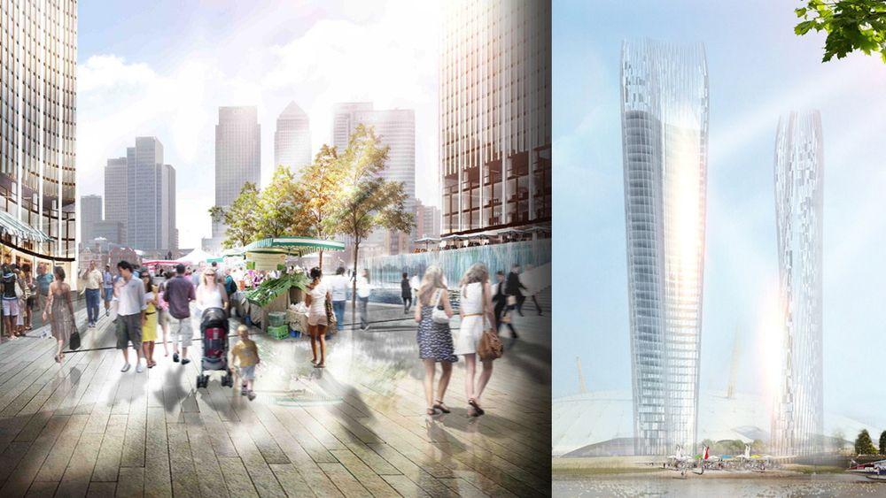 Arkitektbyrået NBBJ har designet denne skyskraperløsningen med to bygninger som jobber sammen for å unngå skygger i rommet mellom dem.