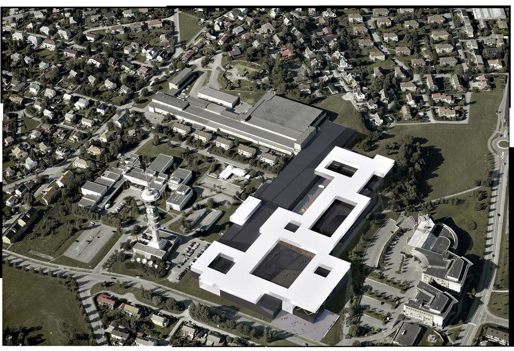 Flyfoto av Marintek på Tyholt med de nye Ocean Space-byggningene inntegnet.