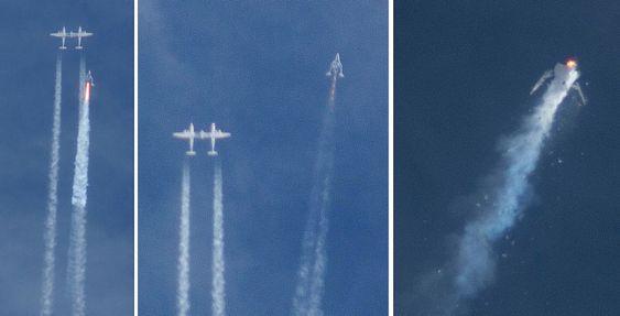 Denne bildesammenstillingen viser hvordan SpaceShipTwo først separeres fra bæreflyet White Knight Two og senere havarerer under en testflygning over Mojave-ørkenen fredag 31. oktober i fjor.