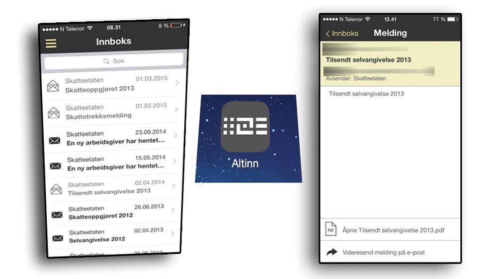 I Altinns nye app kan du enkelt sjekke siste meldinger fra skattemyndighetene.
