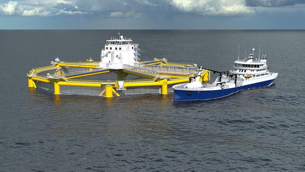 Kongsberg deltar i utviklingen av Ocean Farming sitt offshorebaserte havoppdrettsanlegg.