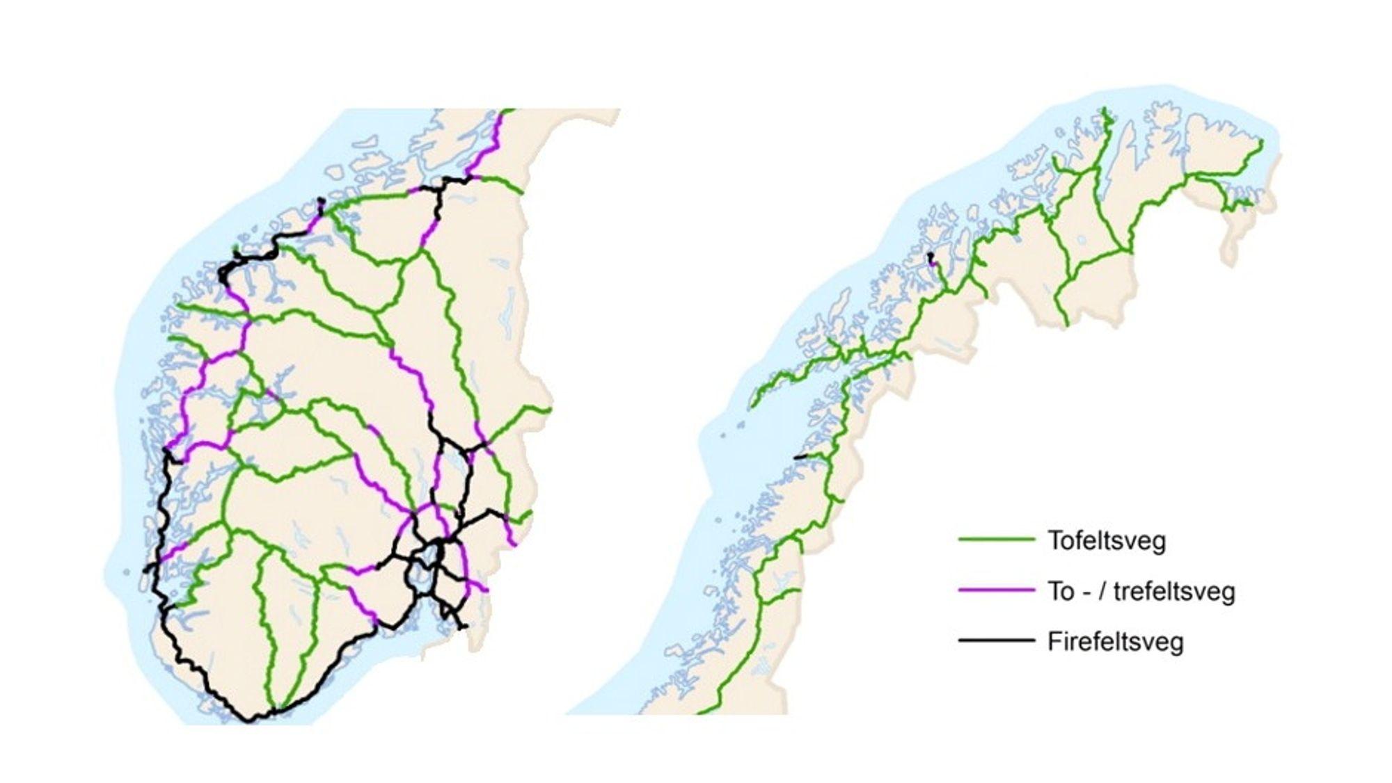 På fire år har Statens Vegvesen økt ambisjonene om antall kilometer firefektsvei betraktelig.