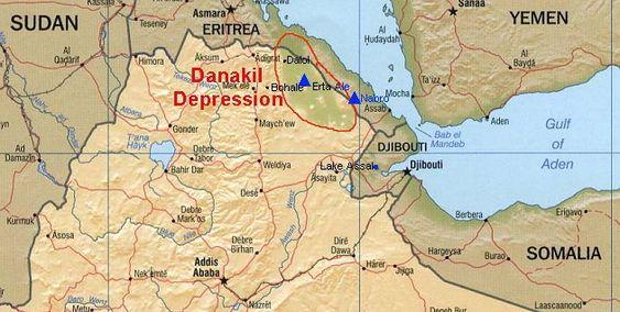 Danakil-fordypningen i Etiopia.