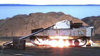 Her sprenges en norsk panservogn