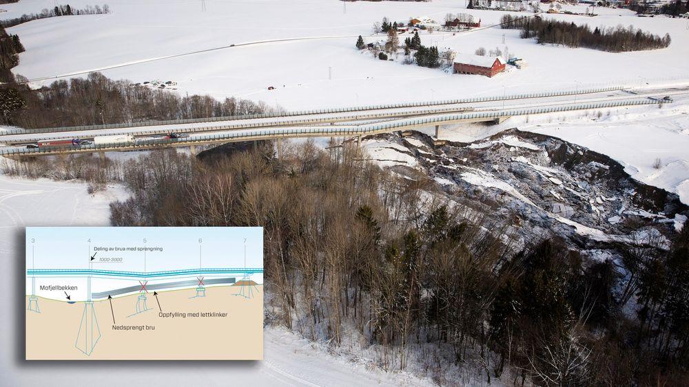 E18 i Vestfold har lenge vært stengt i begge retninger etter at Skjeggestadbrua i Holmestrand falt delvis sammen. Foto: Tore Meek / NTB scanpix