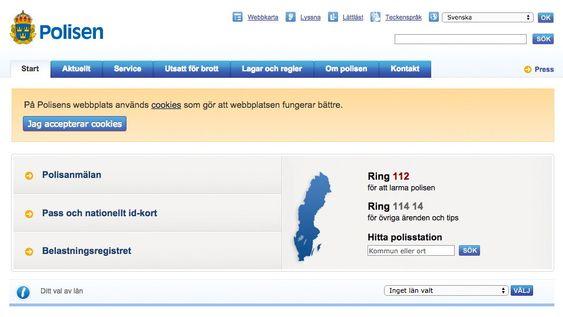 Det svenske politiet har tydelig merket at nettstedet benytter seg av cookies og ber brukeren gi samtykke i bruken.