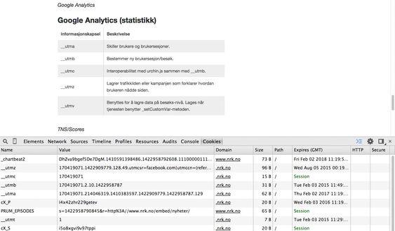 NRK.no redegjør detaljert for hva de bruker sine informasjonskapsler til. Nederst på bildet vises Cookie Inspector for Google Chrome.