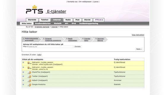 Den svenske Post- og telestyrelsen har et hjelpeverktøy for webutviklere som vil identifisere cookies