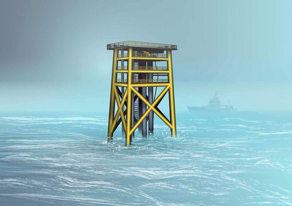 Slik ser Statoil for seg en ubemannet brønnhodeplattform på Oseberg-feltet.