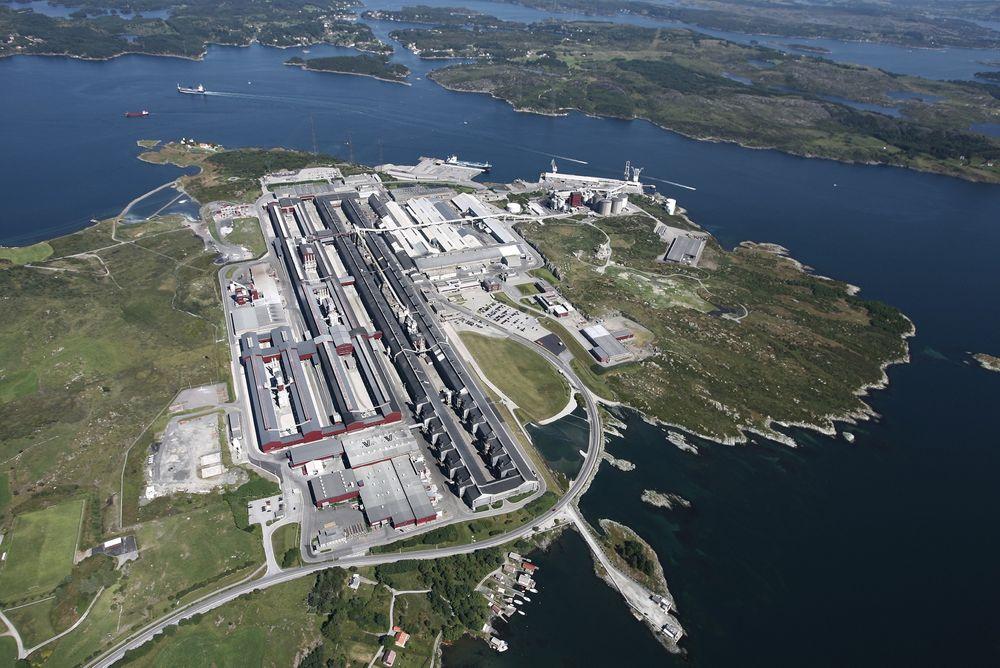 Hydro Karmøy hvor et pilotanlegg til 3,6 milliarder kroner planlegges.