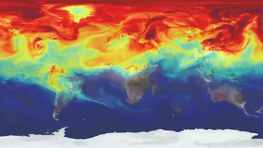i 2014 så vi for første gang i moderne historie at CO2-nivået oversteg 400 PPM over brorparten av den nordlige jordhalvkulen. Illustrasjonen er fra NASAs simuleringsverktøy GEOS-5. Foto: NASA
