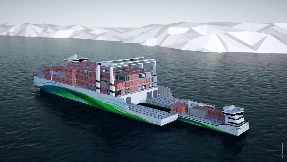 """Short Sea Pioneer. Det lille """"feeder-skipet dokker i moderskipet og lasten i containere overføres. Moderskipet går i faste ruter etter en tidtabell."""