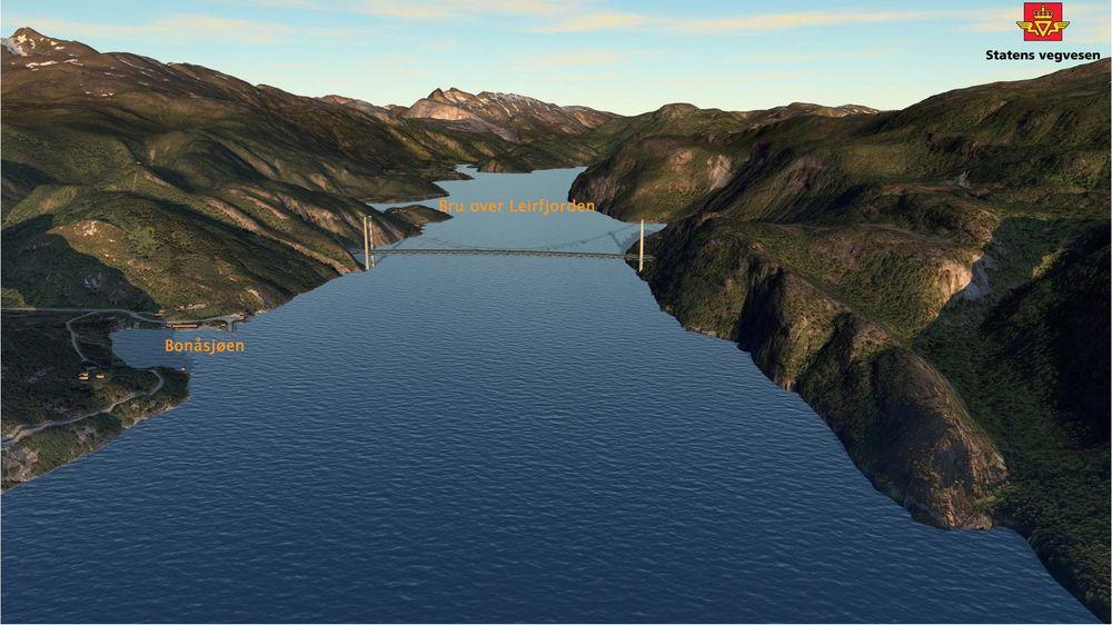 Statens vegvesen anbefaler en løsning med ny hengebru på 860 meter over Leirfjorden og ny trase fra Bonåsjøen og nordover.