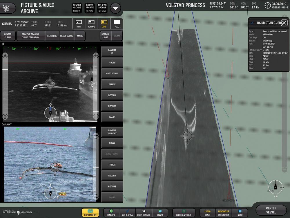 Ett av systemene - Securus - her i bruk under NOFOs olje-på-vann-øvelse. Systemet tar blant annet i bruk infrarøde kameraer for å identifisere hvor brorparten av oljen i et oljeutslipp befinner seg.