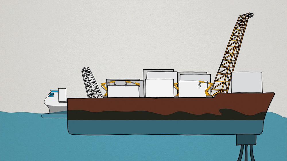 DNV GL ser for seg at framtidens gassproduksjon vil foregå på ubemannede, flytende LNG-anlegg. Roboter skal ta seg av drifts- og vedlikeholdsoppgaver og supplybåter skal kunne docke i selve anlegget, for å levere moduler.