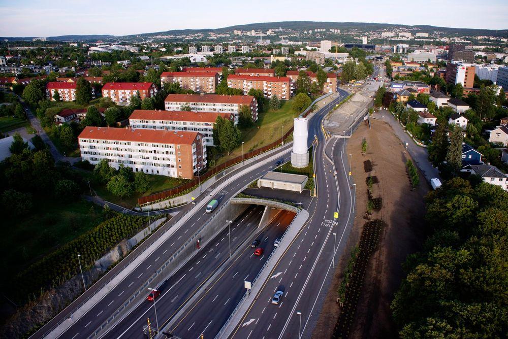 Ute: Tunnelutbedringer gjør at elbiler ikke kan benytte kollektivfelt på ring 3 i Oslo. Her fra Sinsenkrysset.