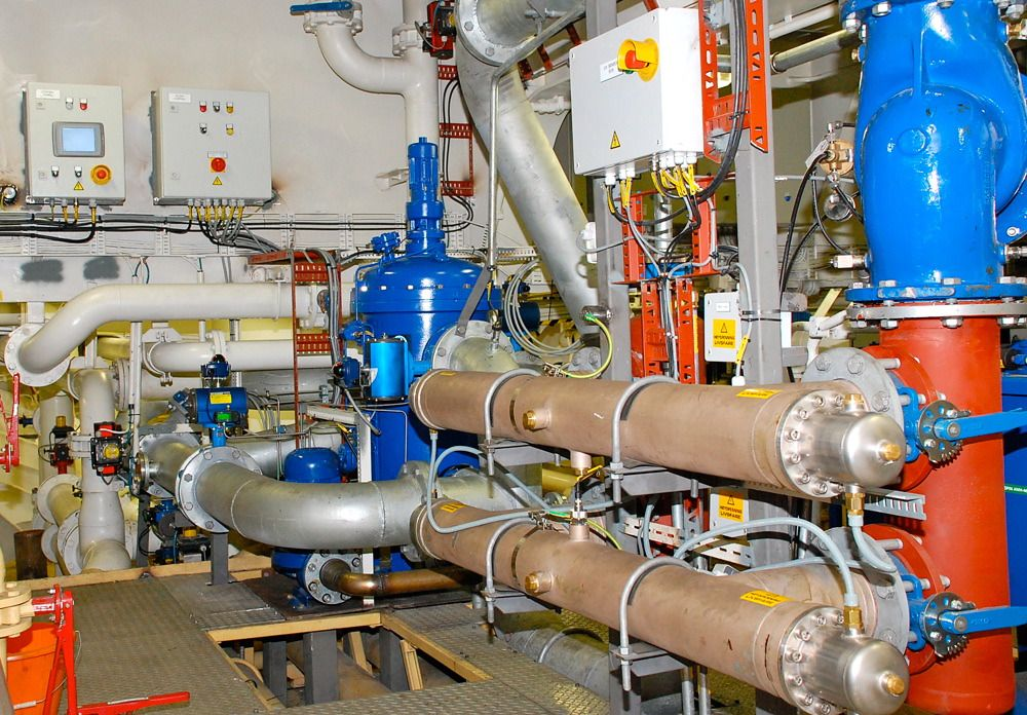 BWTS fra Optimarin er det eneste systemet for ballastvannrensing US Coast Guard har godkjent for amerikanske farvann. Her er det om bord i et skip.