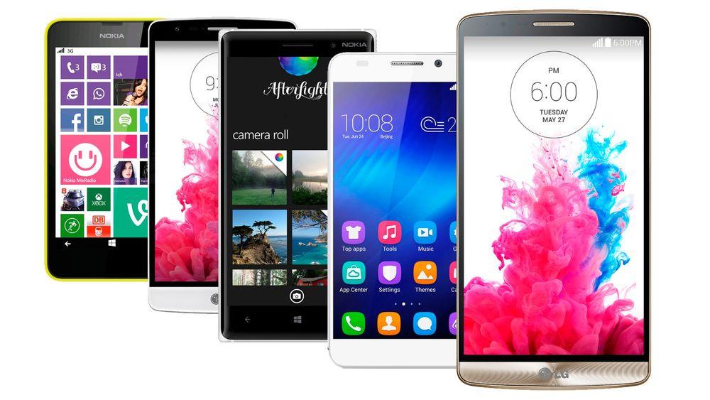 Hvis du trenger ny mobil er det ikke nødvendig å sprenge budsjettet. Disse hyggelige telefonene får du til trivelige priser. Foto: Produsentene/montasje