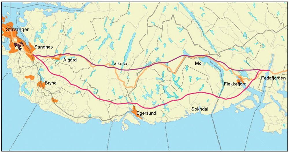 Oversiktskart som viser dagens jernbane (grå), E39 (gul), Jærlinja (rosa) og indre linje (lilla).
