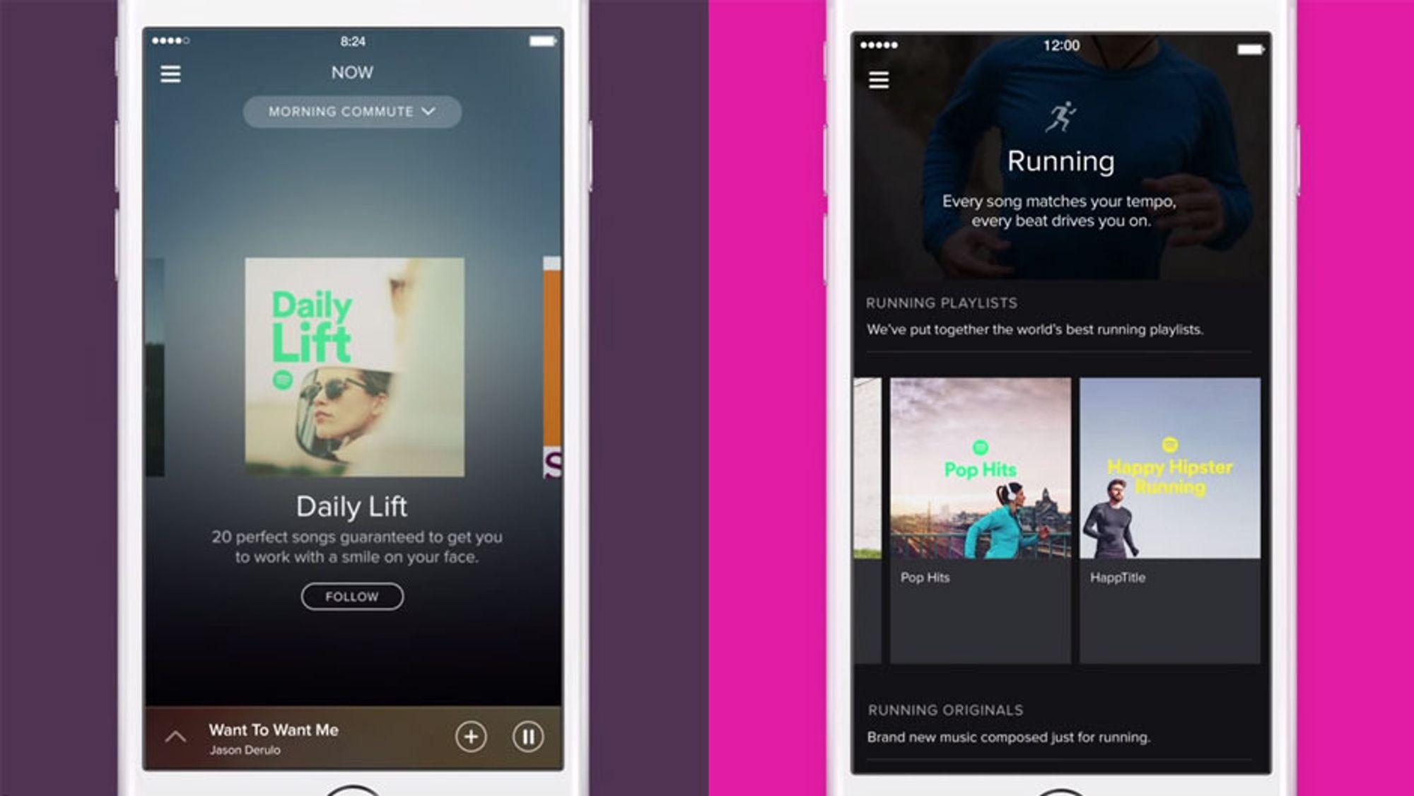 Spotify lanserte onsdag tjenestene Spotify Now og Spotify Running.
