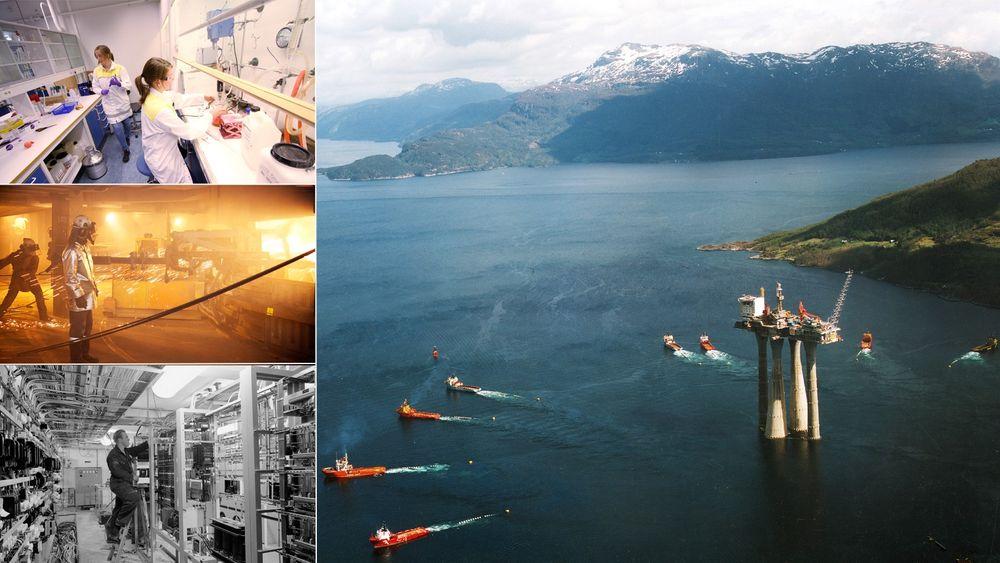 Det har vært en rekke prosjekter som har formet Norge siden frigjøringen i 1945. Her ser vi slepingen av Troll-plattformen, Haldenreaktoren, innsiden fra ett av Elkems smelteverk og fra Lindesnes-laboratoriet til en av verdens største kontrastvæskefabrikker.