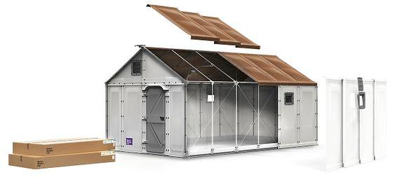 Flatpakkehus til flyktningleir