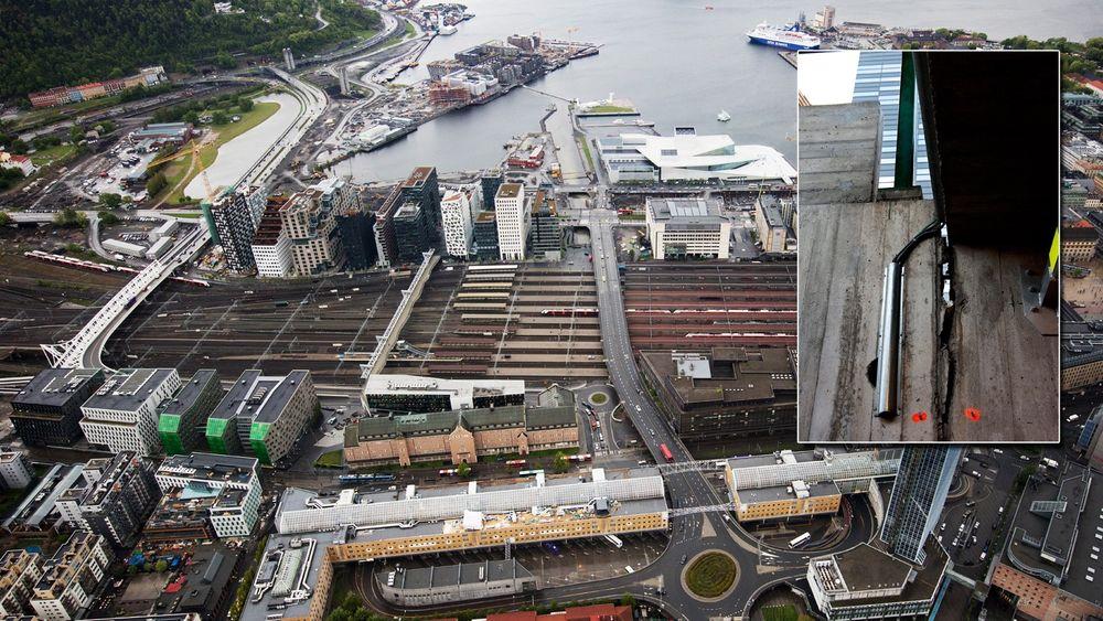 Jernbaneverket og Oslo S Utvikling er uenige om hvilke skader Barcode-gravingen har påført Oslo S. Jernbaneverket en kulvert (innfelt bilde) under sporene er skadet.