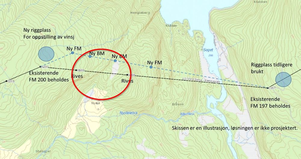 NVE har bestemt at Statnett skal rive master på Sima-Samnanger-linjen og bygge nye lenger nord for å komme i tråd med konsesjonsvilkårene.
