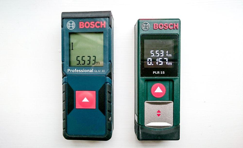 Dreper tommestokken: Den profesjonelle blå og den konsumentvennlige grønne lasermåleren fra Bosch skal konkurrrere tommestokken ut av lomma til folk.