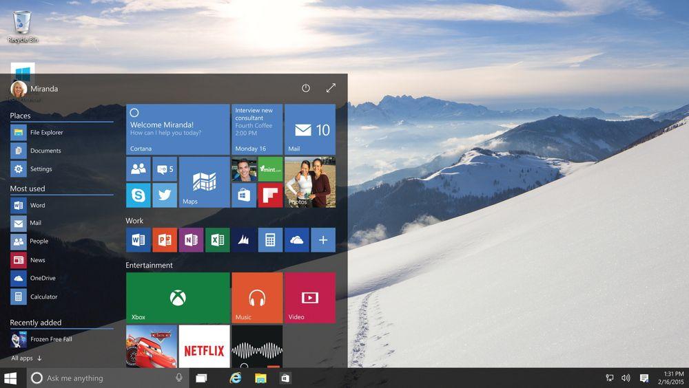 Start-menyen er tilbake i Windows 10, og kan både brukes som dette og utvides til fullskjerm om du bruker en touch-enhet. Legg også merke til den nye assistenten Cortana, som har fått plass mellom startknappen og programknappene nederst til venstre.