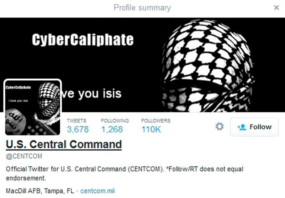 CENTCOMs Twitter-konto etter at den var blitt hacket.