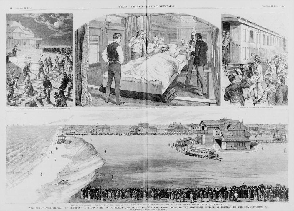 Lokale innbyggere var med på å bygge over en kilometer jernbane på 18 timer da president James Garfield var på vei til Long Branch, for forhåpentligvis å bli bedre etter attentatet tidligere på året.